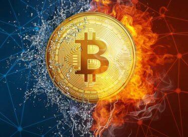 Bitcoin vuur ijs heel cool adobe stock