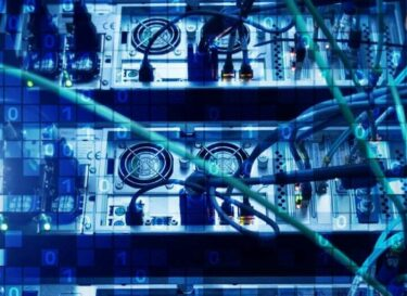Datacenter met blauwe blokjes futuristisch