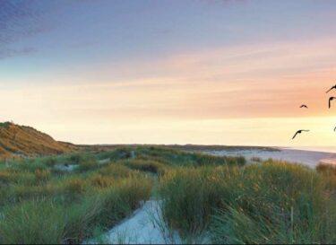 Noordzee panorama ondergaande zon vuurtoren