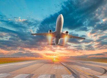 Vliegtuig lens flare blauwe lucht adobe stock change inc